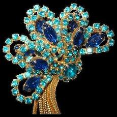 Spectacular Teal Green Blue Rhinestone Brooch and Earrings