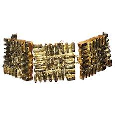 Vintage Designer Ted Lapidus Chunky Gold Tone Bracelet