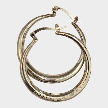 Tiffany & Co Sterling Silver Elsa Peretti Large Round Hoop Earrings.