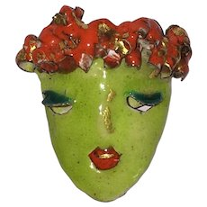 Vintage Harold Tishler Enamel Face Dress or Scarf Clip