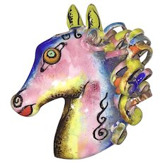 Fabulous Large Harold Tishler Fantasy Horse Colorful Enamel Brooch
