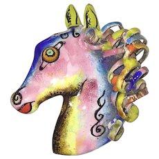 Fabulous Large Harold Tishler Fantasy Horse Colorful Enamel Brooch