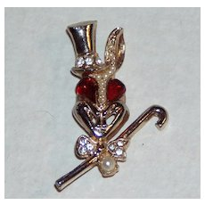 Cute Vintage Rabbit Brooch with Top Hat