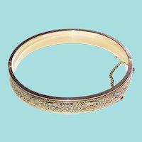 Vintage Taille d'Epergne Hinged Bangle Bracelet
