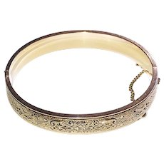 Vintage Taille d'Epergne Hinged Bangle Bracelet