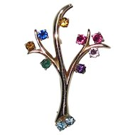 Fine 14K Gold Tree with Multi Gemstones Pin