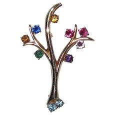Fine 14K Gold Tree with Multi Gemstones Pin