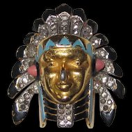 Trifari Alfred Philippe Enamel North American Indian Chieftain's Head Fur Clip