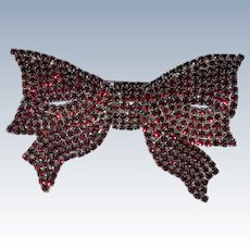 Pauline Trigere Huge Red Rhinestone Bow or Ribbon Brooch