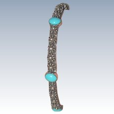 Vintage Mexico Sterling Turquoise Bangle Bracelet