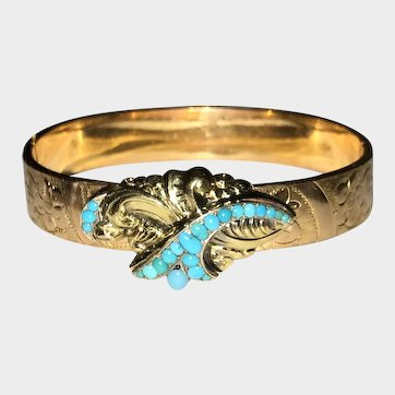 Victorian Persian Turquoise  Hinged Gold Filled Bangle Bracelet