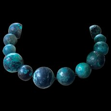 Vintage Turquoise Large Beads Necklace Estate