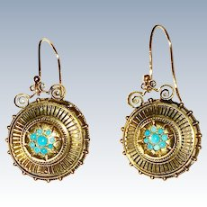 Victorian Etruscan Revival Turquoise Earrings