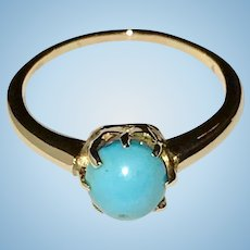 Vintage Turquoise Gold Ring Pretty