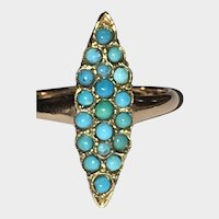 Victorian Persian Turquoise Navette Shaped Ring 10K Gold Fill
