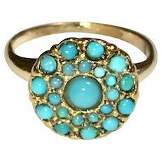 Victorian Persian Turquoise Gold Filled Ring Size 4 1/2