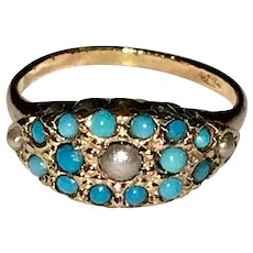 Victorian Persian Turquoise  Cultured Pearl Gold Filled Ring Size 6