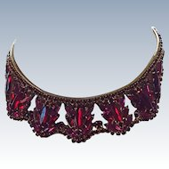 Outstanding Fuchsia and Red Rhinestone Set Necklace and Bracelet
