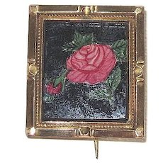 Victorian Reverse Painted Glass Pin