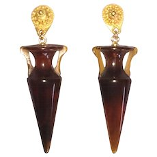 Vintage Etruscan Revival Amphora Shaped Earrings