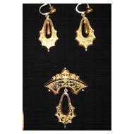 Victorian Earrings and Brooch Set