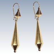 Victorian Etruscan Revival Long Drop Earrings