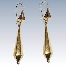 Victorian Etruscan Revival Long Drop Earrings