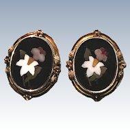 Victorian Pietra Dura Large Earrings