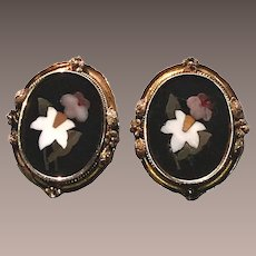 Victorian Pietra Dura Large Earrings