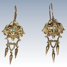 Victorian Gold Filled Earrings and Brooch