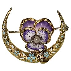 Antique 14K Yellow Gold Enamel Pansy Crescent Honeymoon Brooch