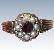 Victorian Garnet Seed Pearls Ring