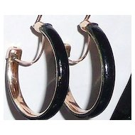 Victorian Gold Filled Black Enamel Hoop Earrings
