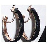 Victorian Gold Filled Black Enamel Hoop Earrings