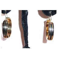Victorian Rose Gold Filled Hoop Earrings Black Enamel