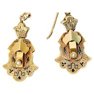 Victorian 14K Gold Taille d'epargné Enamel Earrings