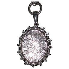 Birmingham Victorian Silver Locket Necklace