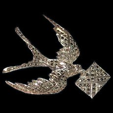Vintage Sterling Marcasite Swallow with Love Letter Brooch.