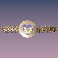 Sale Wonderful Victorian Enamel Pansy Gold Filled Bracelet