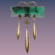 Victorian Brooch Malachite Glass