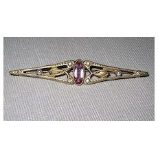 Victorian Bar Pin Pink Glass Stone