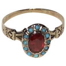 Victorian Dainty Rose Gold Turquoise and Red Stone Ring