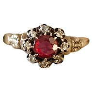 Victorian 14K  Gold Diamond Red Stone Ring