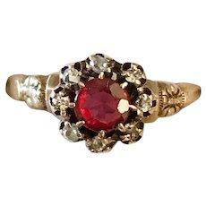 Victorian 14K  Gold Diamond Red Stone Ring