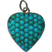 Victorian Puffy Heart Locket Pave Turquoise