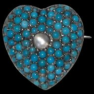 Victorian Pave Turquoise Moonstone Heart Pin Pendant