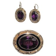 Antique Victorian Amethyst Glass Pinchbeck Brooch and Earrings