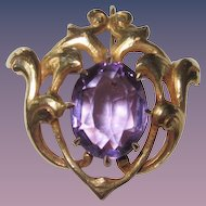 Antique Art Nouveau Watch Pin Amethyst