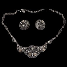 Vintage Western Germany Rhinestone Necklace and Earrings