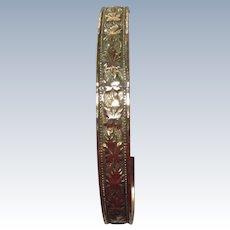 Vintage Wells Gold Filled Bangle Bracelet Maple Leaf Motif